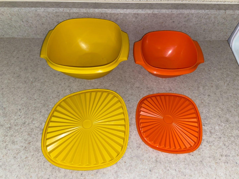 Lot # 111 (2) Vintage Tupperware Bowls (orange & yellow)