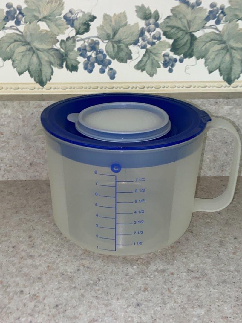 Lot # 113 Tupperware 1629E Mix-n-Store 8-Cup Measuring Bowl w/ #1628D Blue Lid/ Sheer Cap