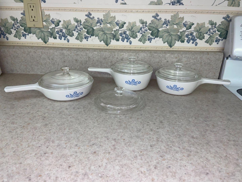 Lot # 116 (3) Corningware Blue Cornflower Pans
