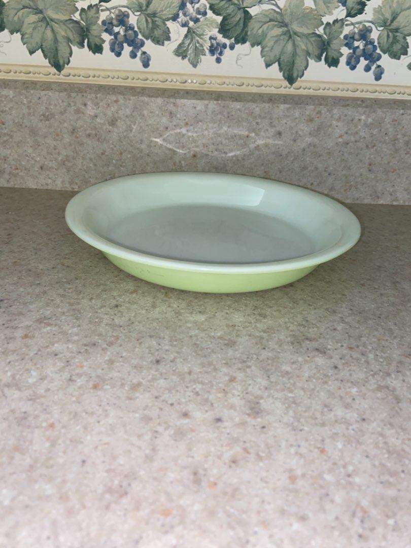 "Lot # 120 Vintage Pyrex Glass Pie Plate Dish # 909 Lime Green 9"" Diameter"