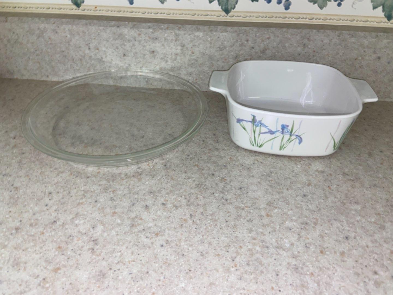 Lot # 126 Corning Ware Shadow Iris Casserole Dish & Pyrex Pie Plate