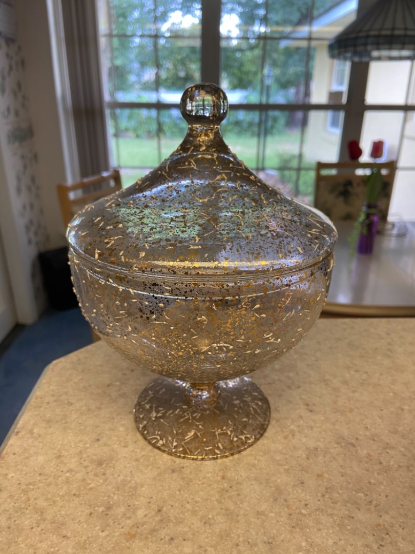 Lot # 167 Vtg West Virginia Glass Confetti Gold Handmade Candy Dish