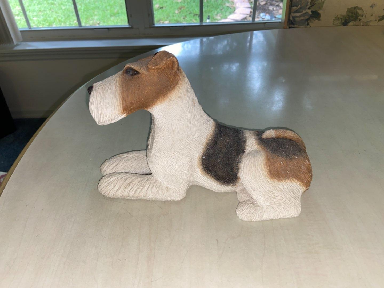 Lot # 172 Fox Terrier Dog Figurine Hand Painted Sandicast Sandra Brue 1989 USA