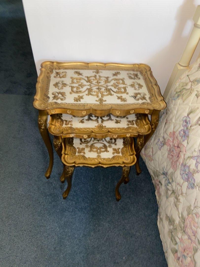 Lot # 203 (3) Vtg Italian Florentine Gold Gilt Nest of Tables