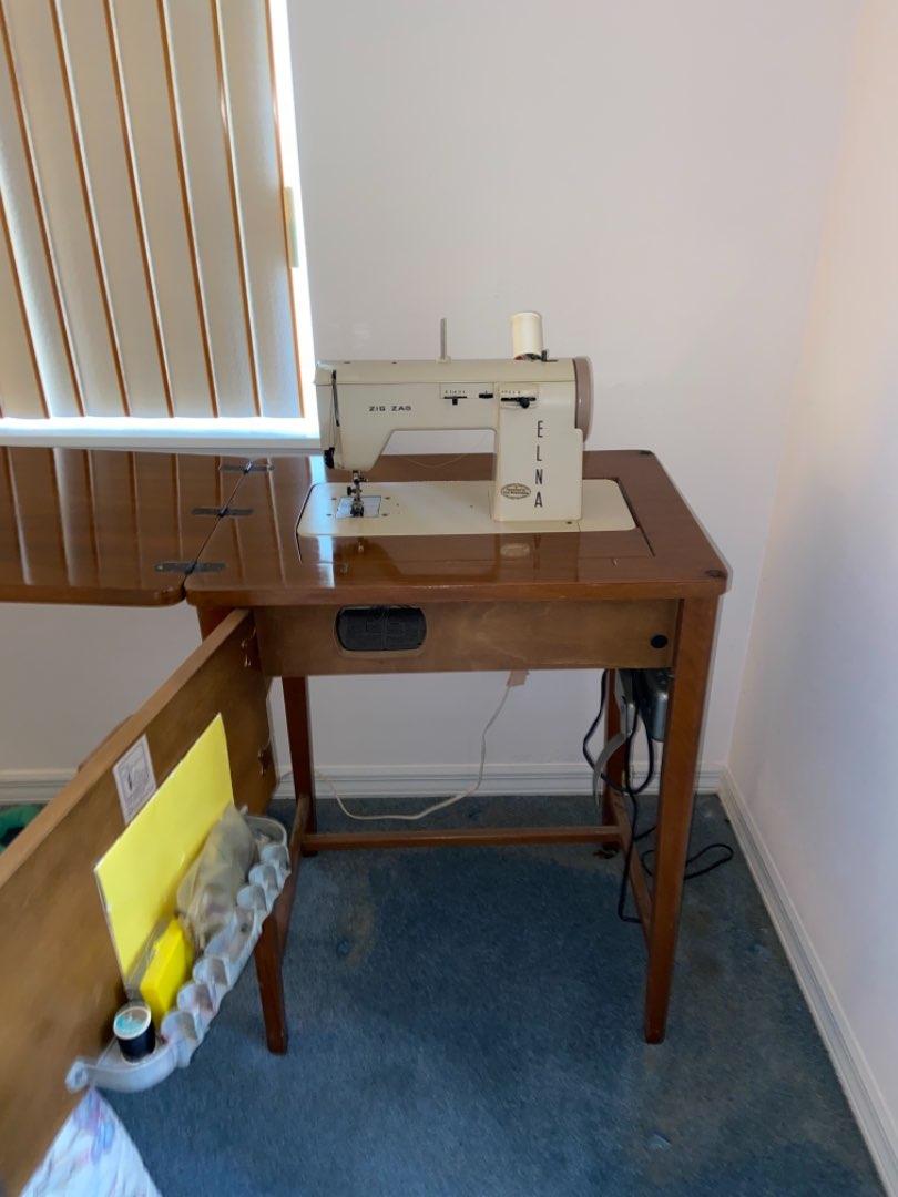Lot # 210 Vintage Elna Sewing Machine w/ Cabinet