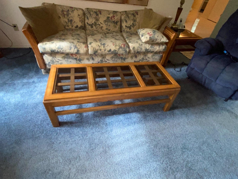 Lot # 220 Wood & Glass Coffee Table