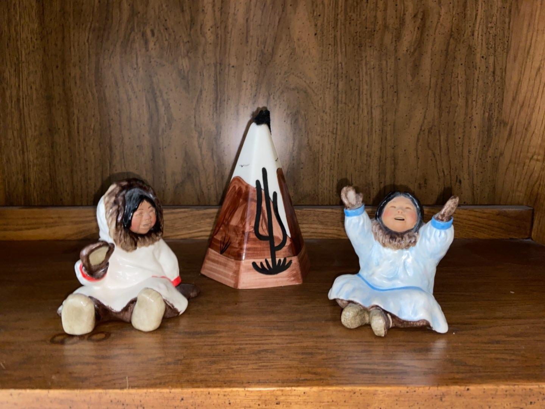 Lot # 225 (3) C. Alan Johnson Figurines & Teepee