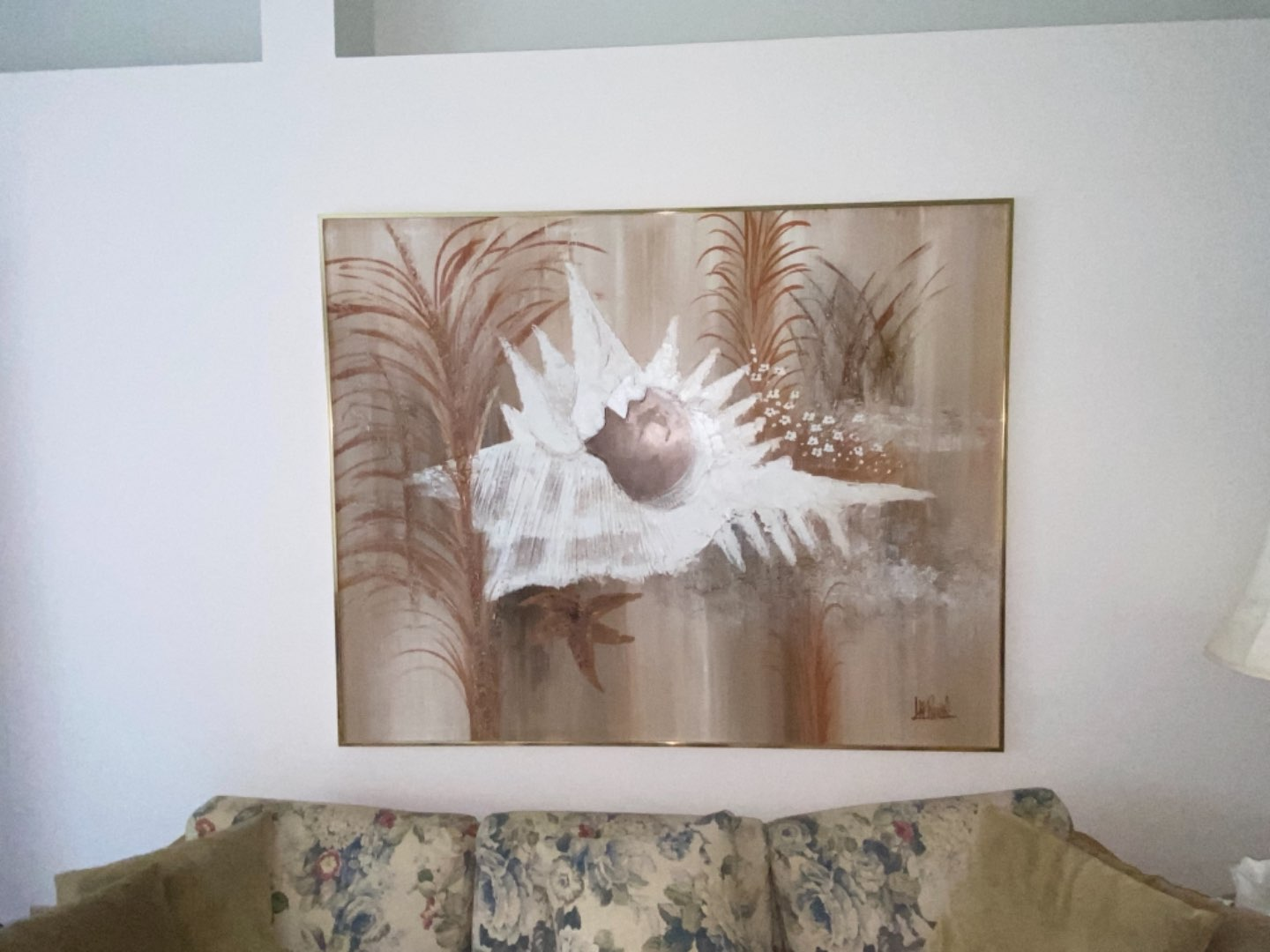 Lot # 229 1980s Abstract Shell Painting by Lee Reynolds, Framed
