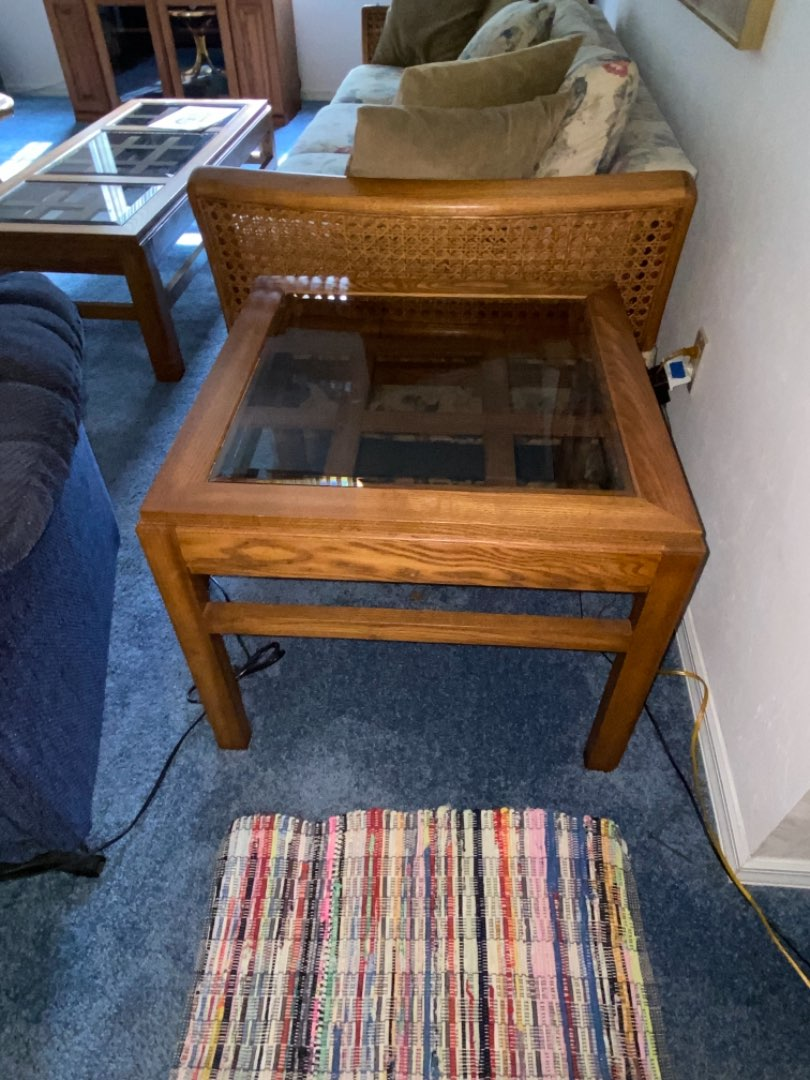 Lot # 230 Wood & Glass End Table