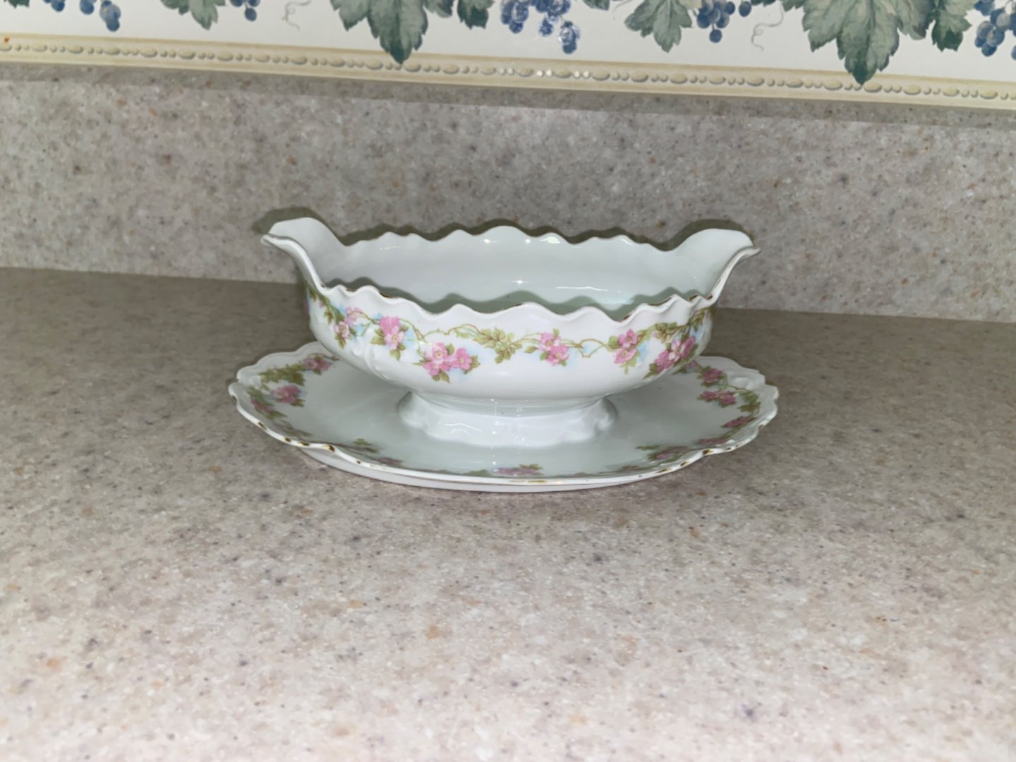 Lot # 245 Antique Habsburg China Gravy Boat on Plate
