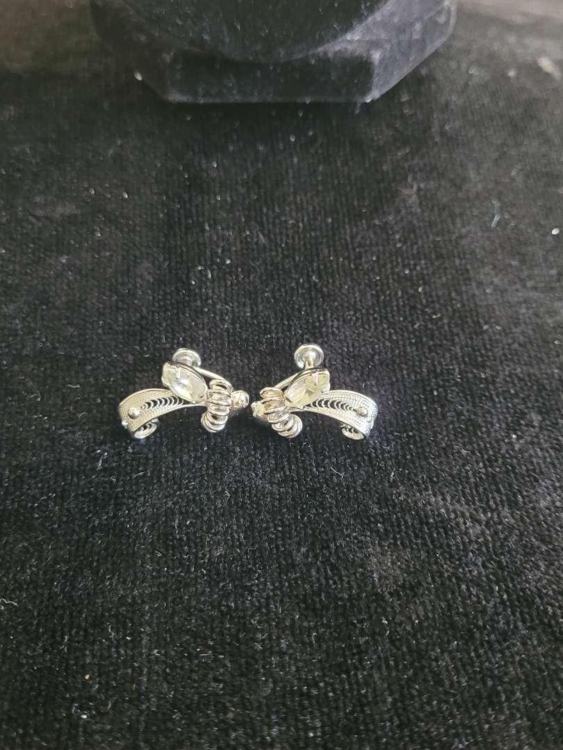 Lot # 261 Vintage Sterling Silver Clip On Earrings