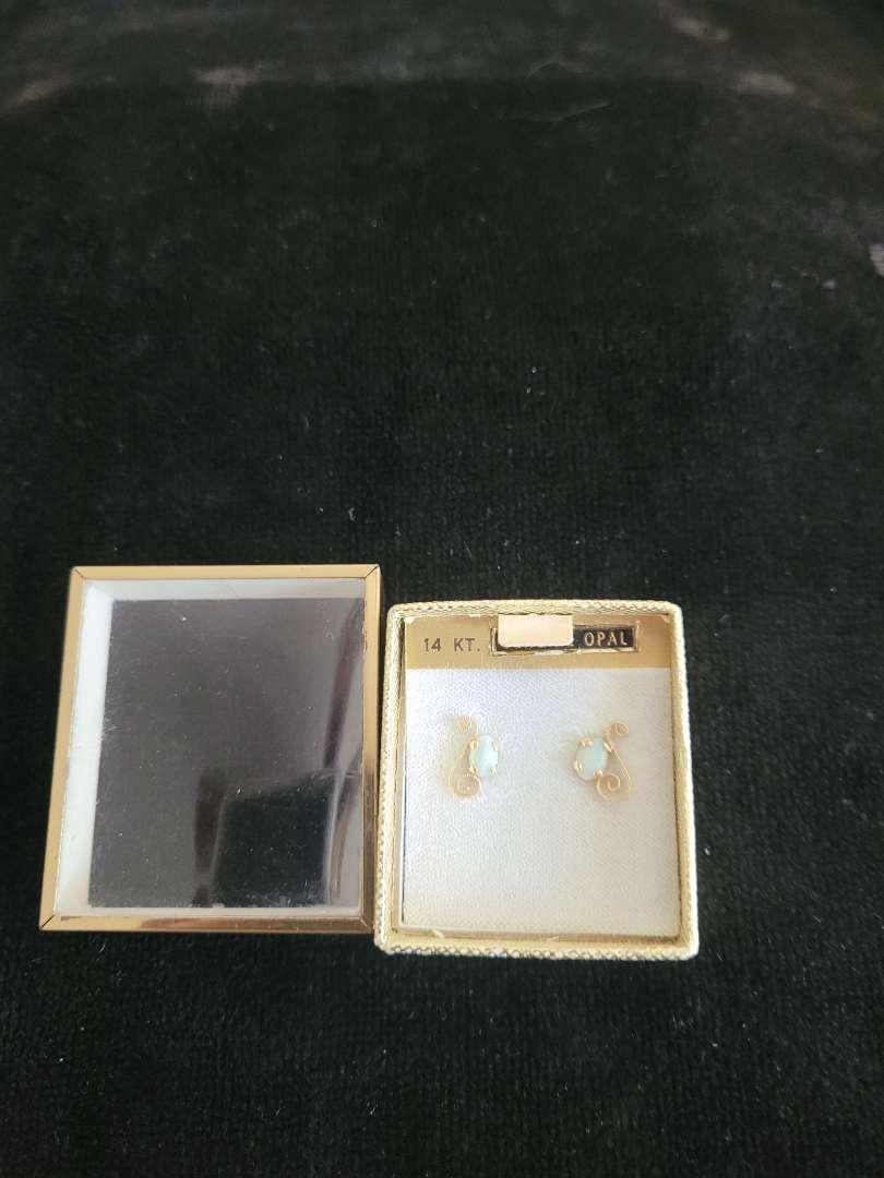 Lot # 316 14k Gold Genuine Opal Earrings