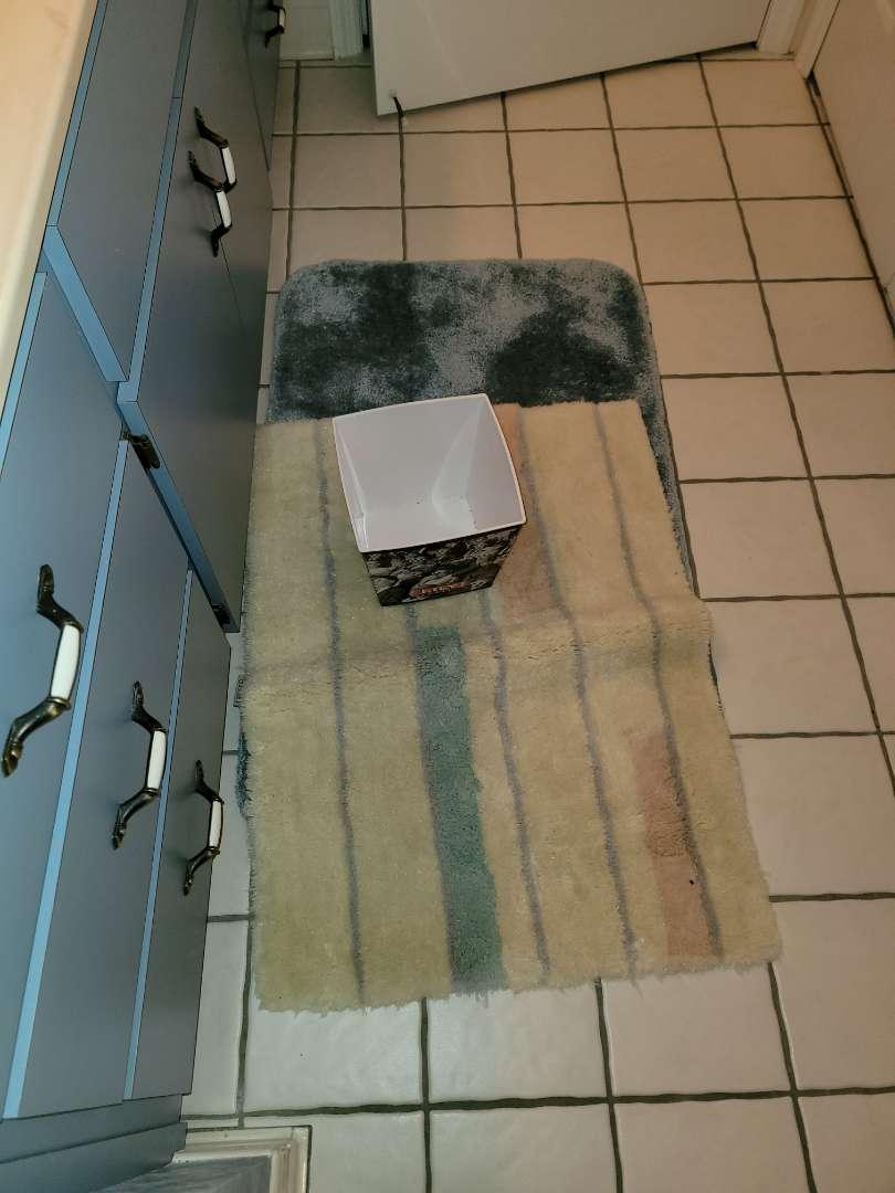 Lot # 326 (2) Bathroom Rugs & Waste Basket