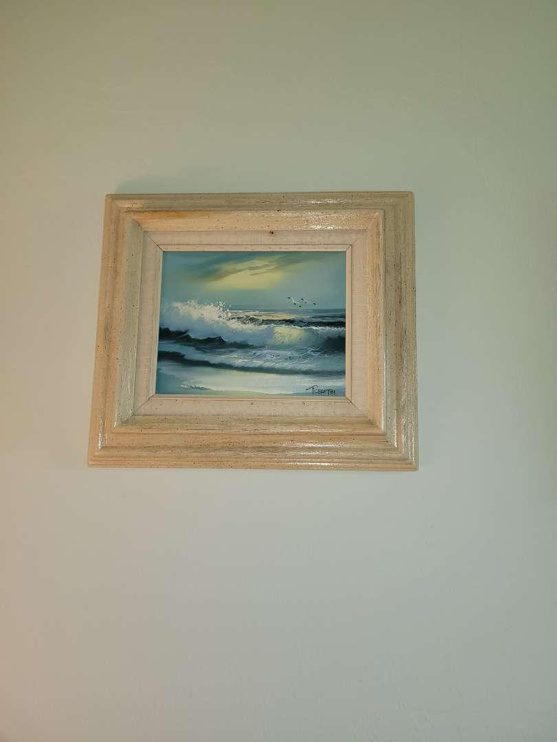 Lot # 332 Gorgeous Oil on Canvas Serene Beach Scene w/ Waves & Seagulls - Signed Reston