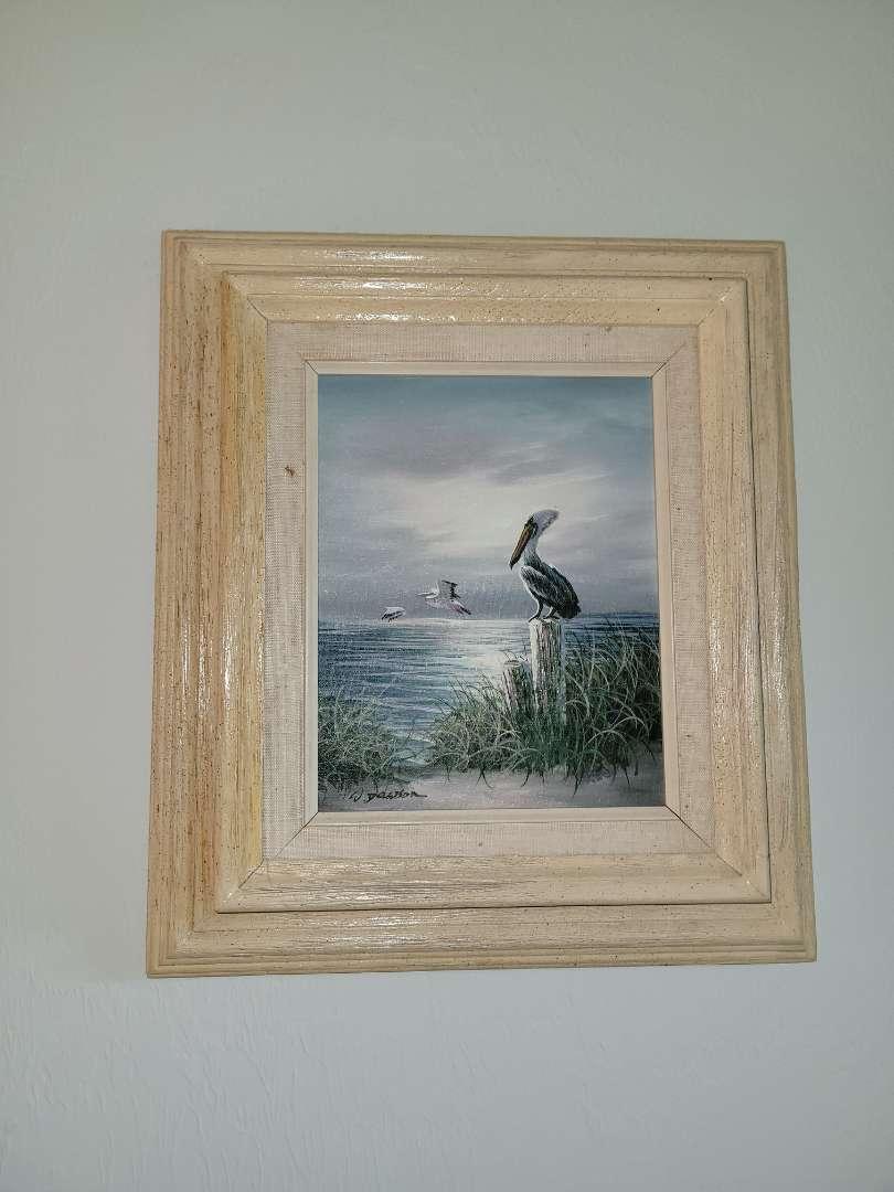 Lot # 333 Beautiful Pelican Seascape Painting- Signed W. Dawson