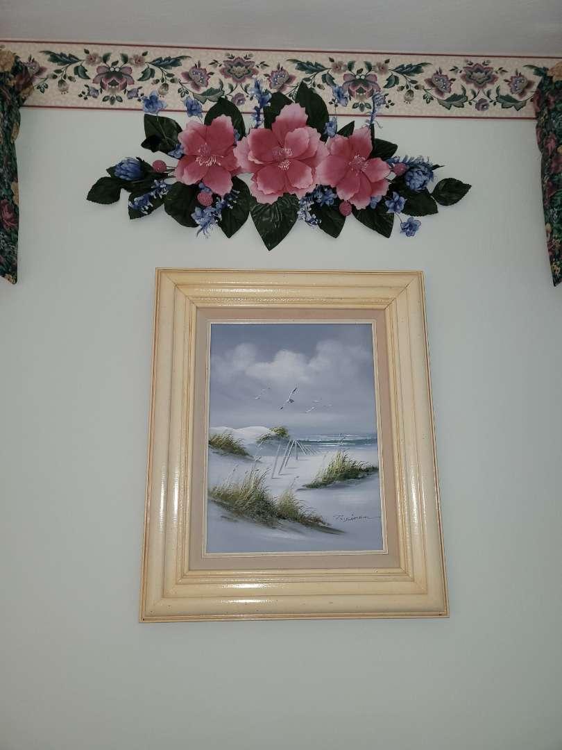 Lot # 334 Beautiful Seascape Painting & Faux Flowers - Signed R. Simon