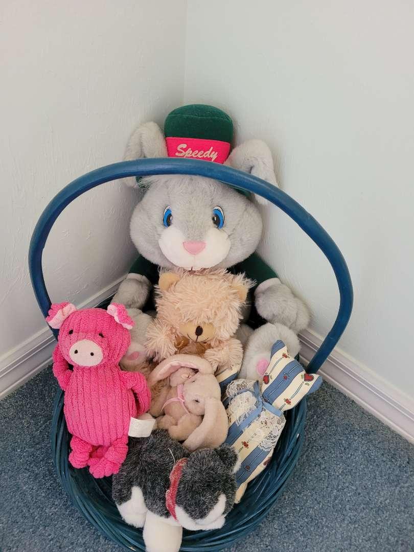 Lot # 345 Stuffed Animals & Basket