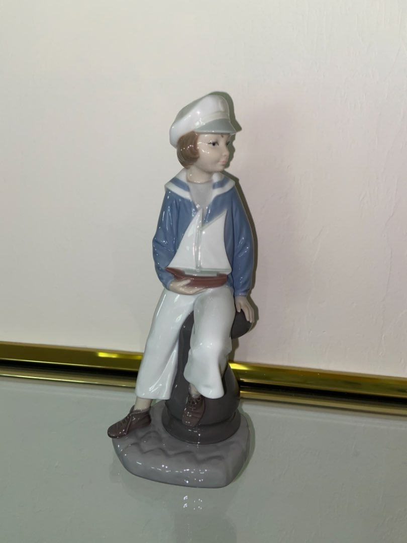 Lot # 350 Retired Lladro Boy with Yacht Porcelain Figurine 4810
