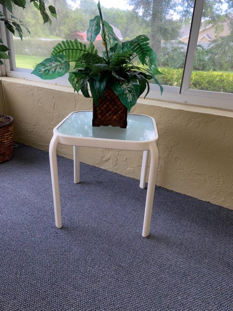 Lot # 363 Patio Side Table w/ Faux Plant