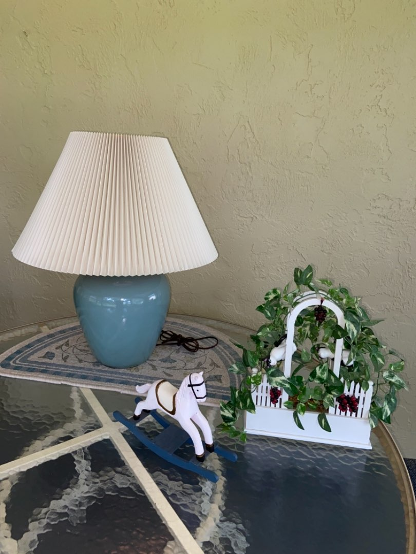 Lot # 365 Lamp, Rocking Horse & Cat Decor