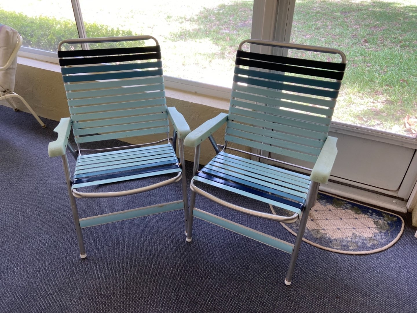 Lot # 370 (2) Foldable Lawn Chairs