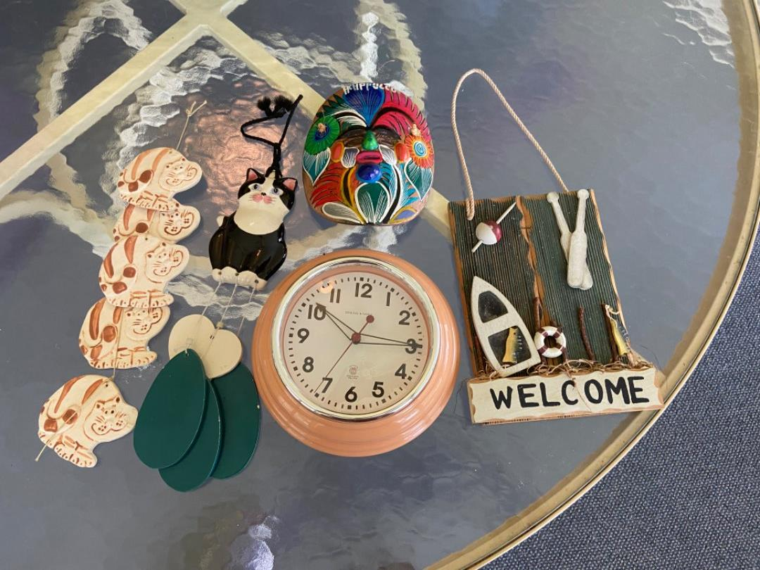 Lot # 372 Home Decor Pieces (mask, Cat wind chimes & More)