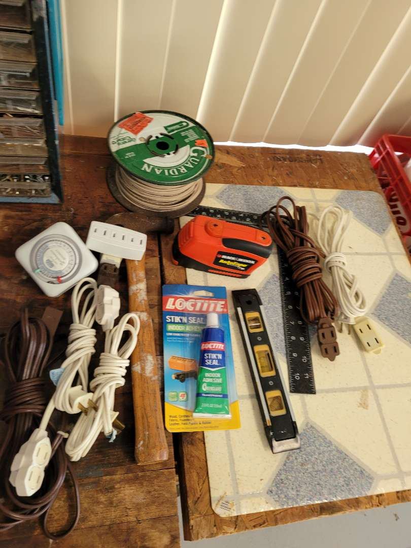 Lot # 395 Extention Cords, Level, Wire & More
