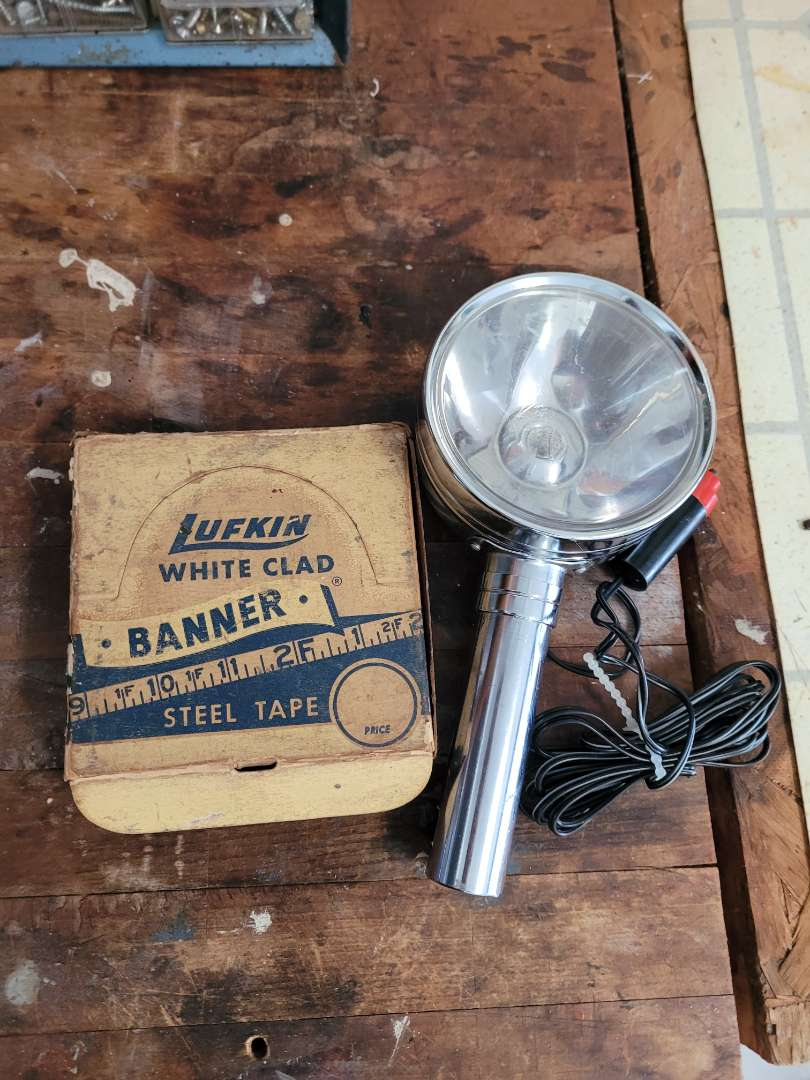Lot # 396 Vintage Steel Tape & Car Spot Light