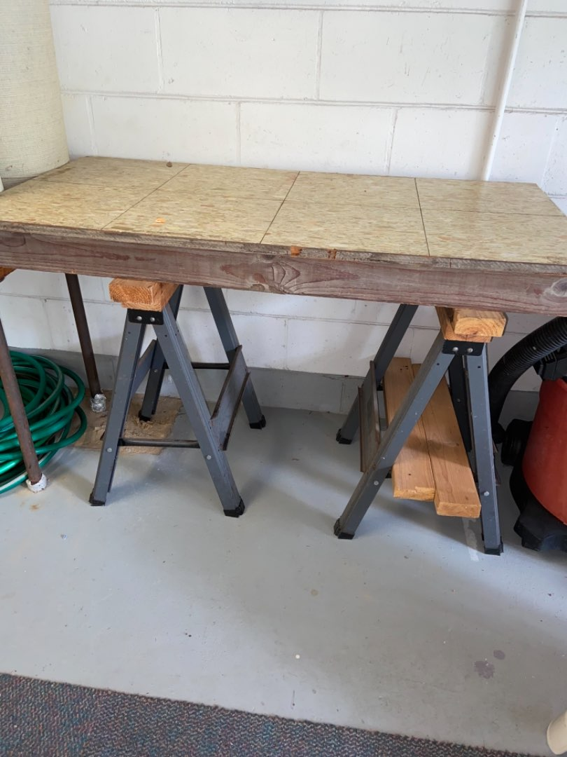 Lot # 416 Wood Work Bench Top w/ Sawhorses