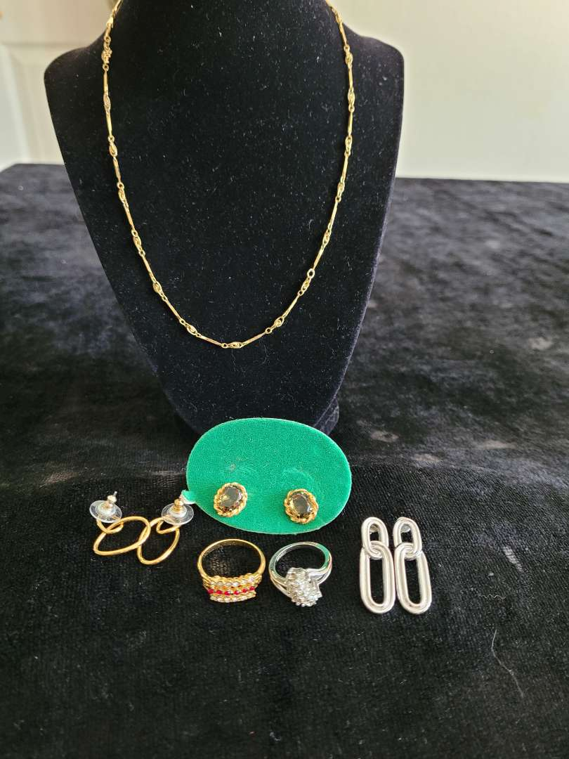 Lot # 422 (3) Sets of Earrings, 2 Rings & Necklace