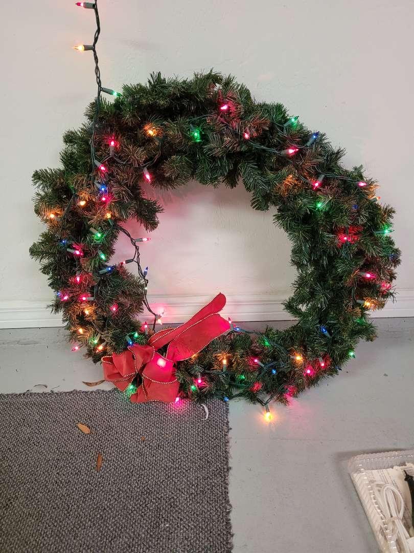Lot # 436 Large Multi Colored Light Christmas Wreath
