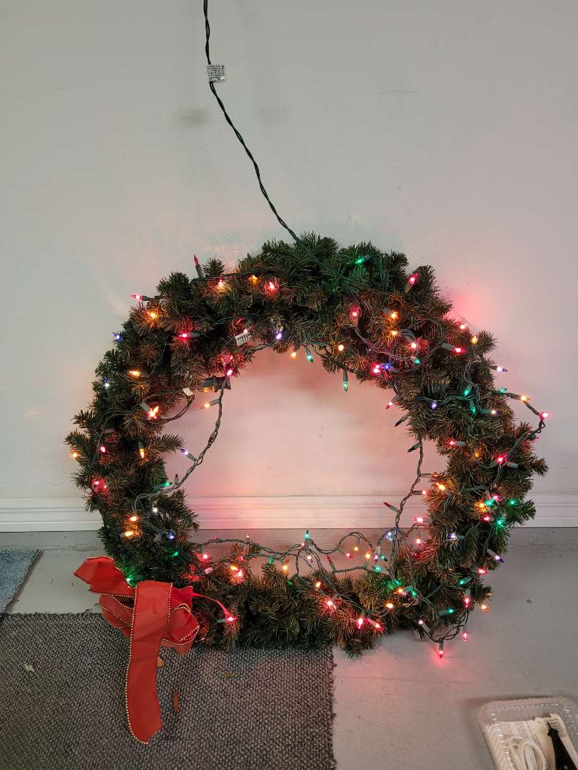 Lot # 437  Large Multi Colored Light Christmas Wreath