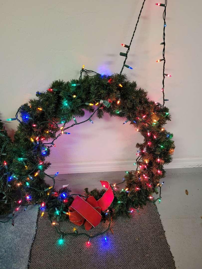 Lot # 438 Large Multi Colored Light Christmas Wreath