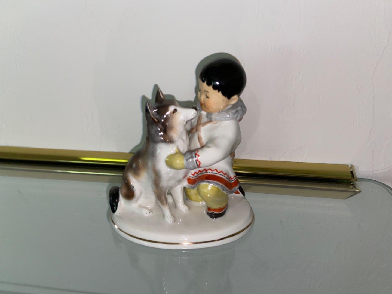 Lot # 454 Lomonosov USSR Eskimo Boy With Husky Dog Figurine