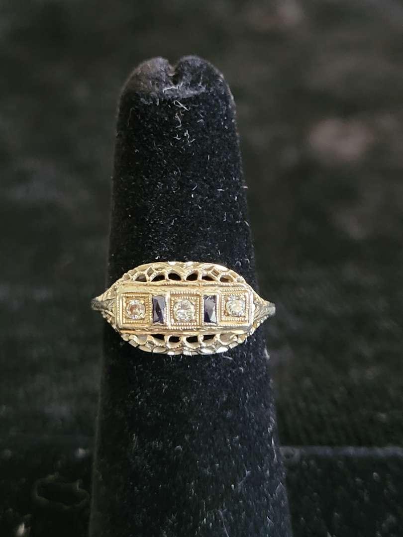 Lot # 483 Vintage 18k White Gold Sapphire & Diamond Ring - Size 5 - TW is  2.2g