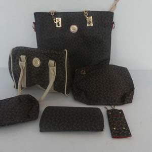 Lot #46 Brown Vinyl with Double Anchor Pattern Tote, Handbag, Makeup Bag, Wristlet, Wallet and Key Purse