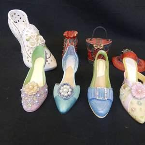 "Lot #91 Ladies ""Accessory"" Figurines - Shoes, Hat, Purse"