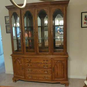 """Lot #199 Vintage Cochrane Hermitage House 60"""" Solid Oak Lighted Buffet/Hutch China Cabinet (See Description)"""
