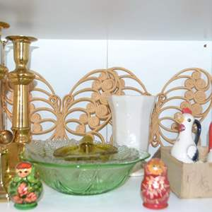 Lot # 30 SHAFFORD JAPAN 2 CHICKENS, 2 RUSSIAN NESTING DOLLS, 2 BRASS CANDLE STICKS WITH SNUFFERS