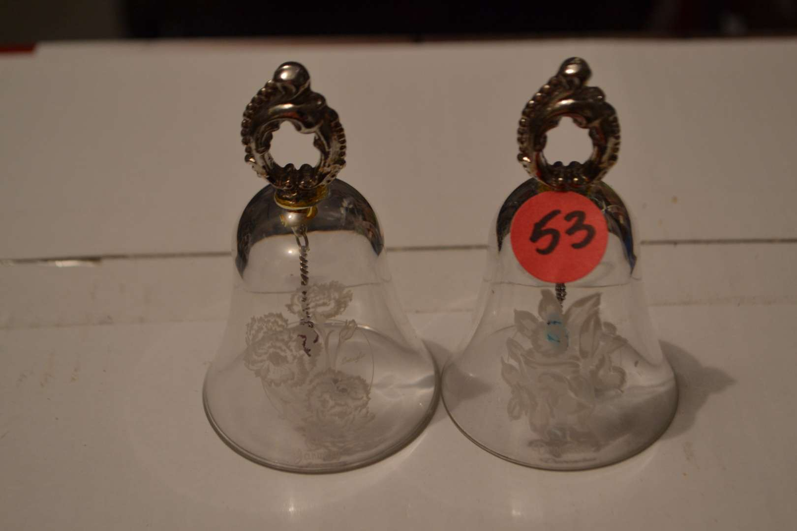 Lot # 53 TWO BELLS ECHED WITH DECEMBER & JANUARY WITH BIRTHSTONE HEARTS