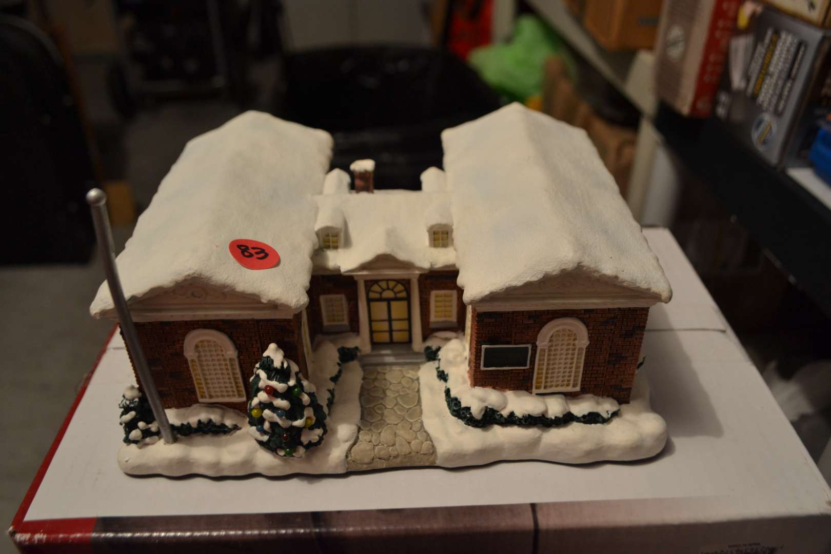 Lot # 83 NORMAN ROCKWELL CHRISTMAS VILLAGE LIBRARY LIGHTED
