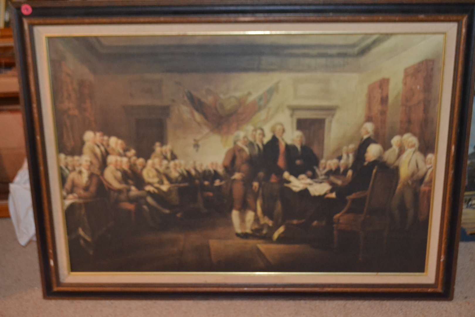 Lot # 176 BEAUTIFUL FRAMED ART OF THE SIGNING OF THE DECLARATION OF INDEPENDENCE 25 X 35