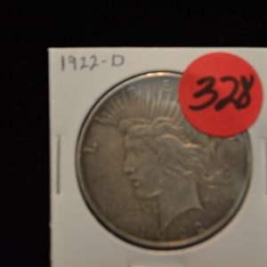 Lot # 328 1922-D SILVER PEACE DOLLAR