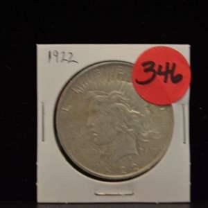 Lot # 346 1922 SILVER PEACE DOLLAR