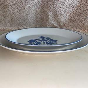 Lot # 19 Pfaltzgraff Blue Yorktowne 2 Serving Platters