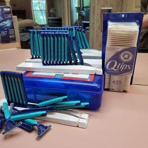 Lot # 104 Gillette Razors, Q- Tips, & First Aid Kit