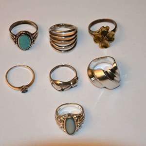 Lot # 123 Sterling silver rings lot sizes 5-7 31.8g