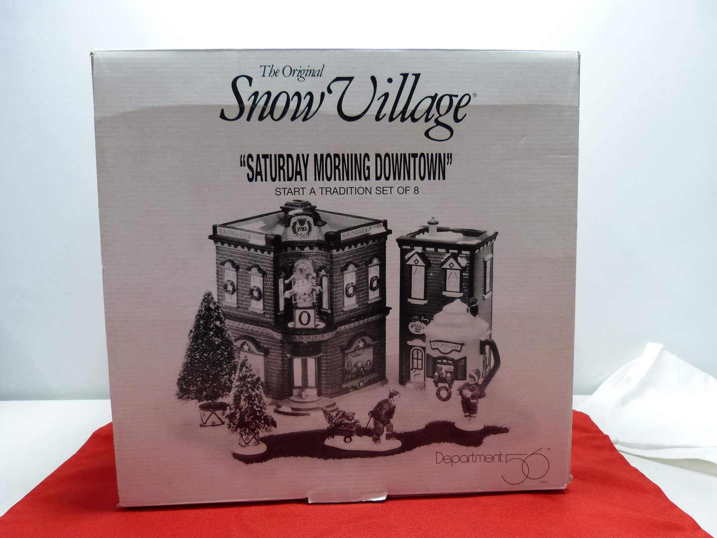 """Lot # 1  Dept 56 buildings """"Saturday Morning Downtown"""" Great condition missing light and tree (main image)"""