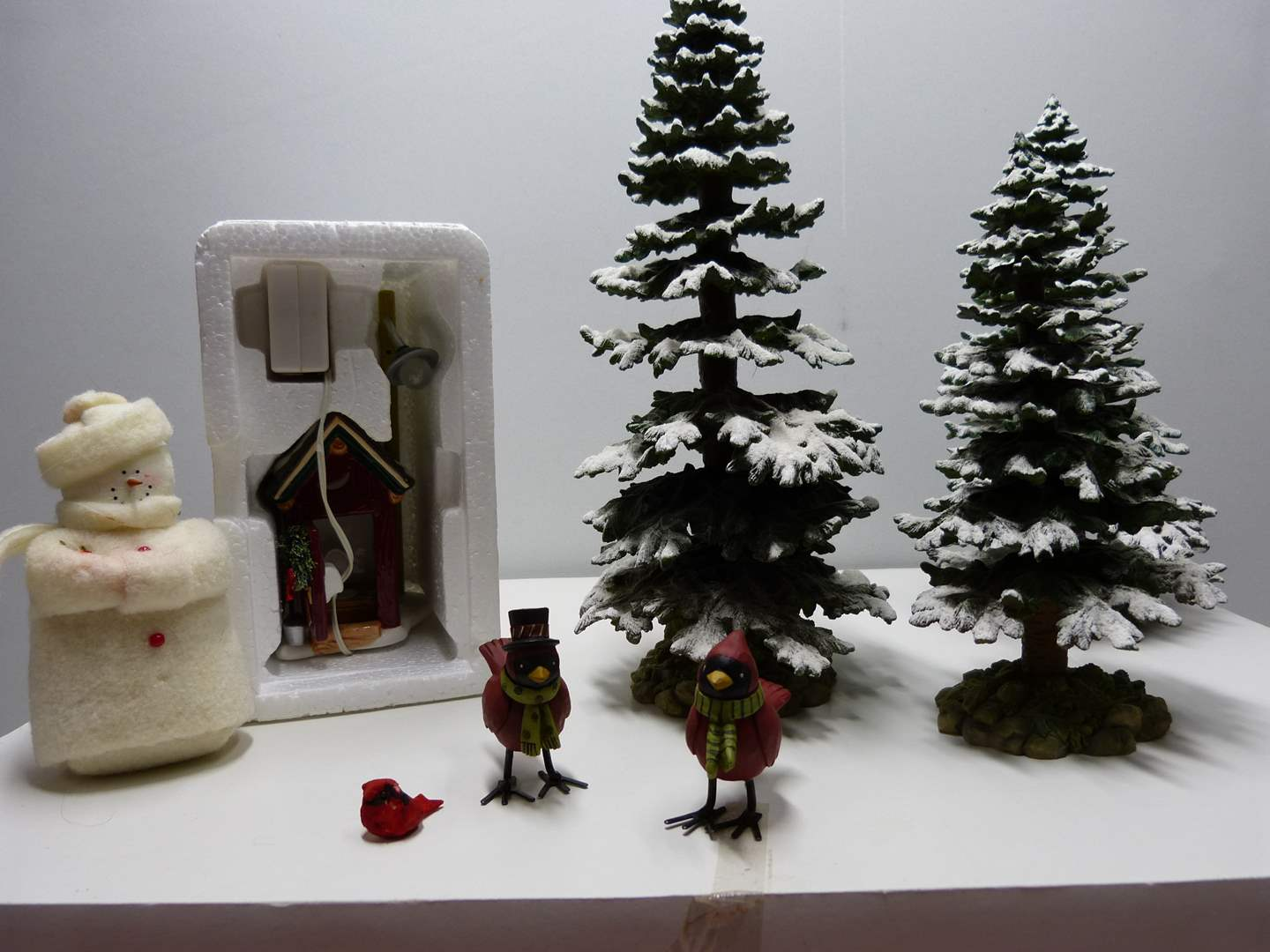 Lot # 2  Dept 56 3 Large landscape trees w/showman & outhouse (perfect condition) (main image)