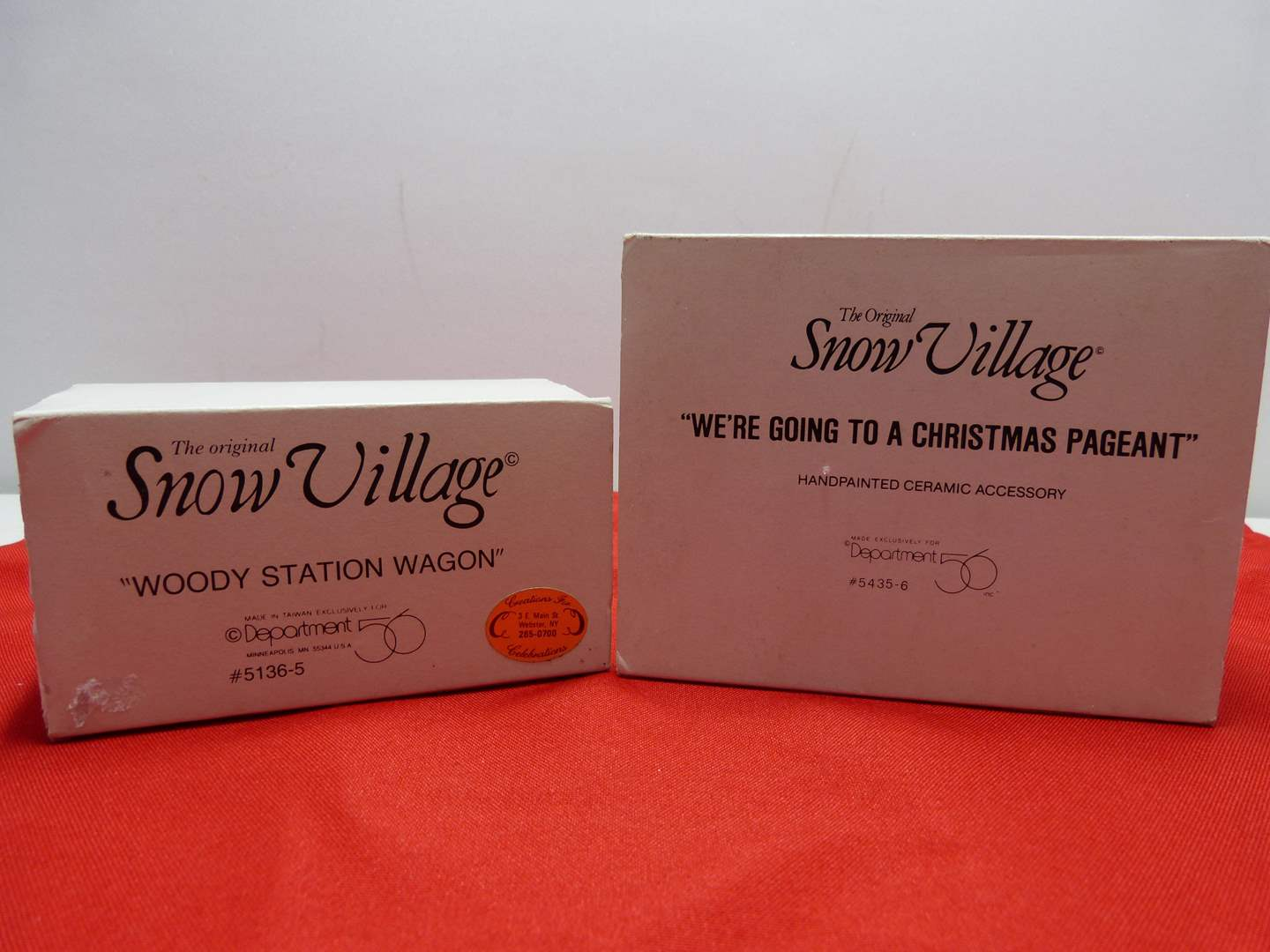 """Lot # 11  2 Dept 56 accessories """"We're Going to a Christmas Pageant"""" & """"Woody Station Wagon"""""""